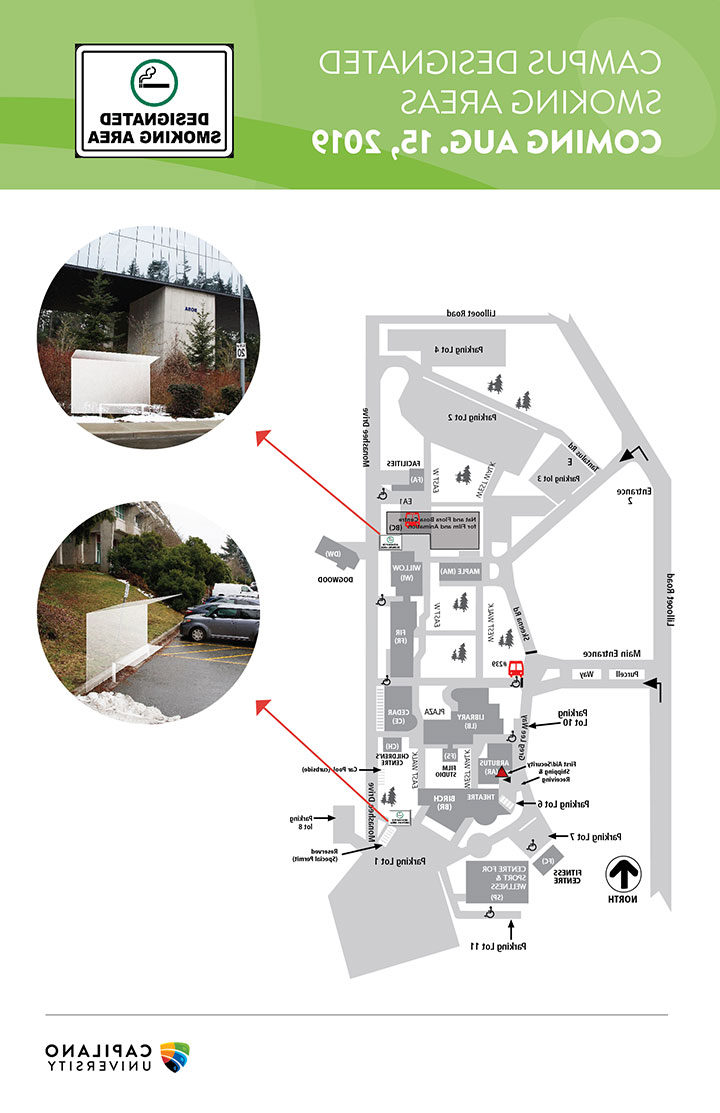 A map of areas where smoking and vaping is permitted on the CapU main campus.